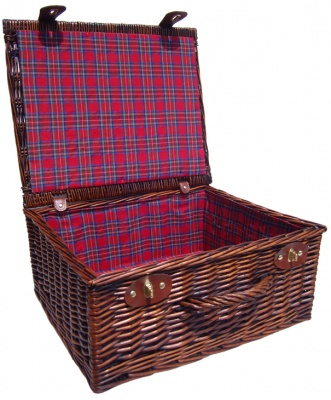 Premium VINTAGE BROWN Hamper with TARTAN LINING (18'') 45x38x20cm - LARGE