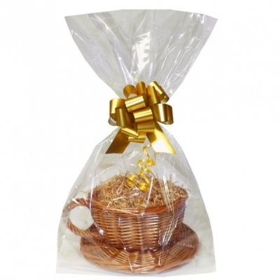 Gift Basket Kit - WICKER CUP & SAUCER / GOLD ACCESSORIES