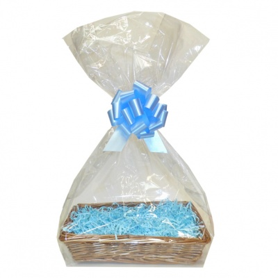 Complete Gift Basket Kit - (32x21x7cm) STEAMED WICKER TRAY / BLUE ACCESSORIES