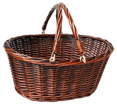 Premium Wicker SHOPPER with Folding Handles - LARGE VINTAGE BROWN 41cm