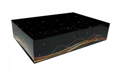 Easy Fold Gift Tray (35x24x8cm) - Large BLACK/GOLD SWIRL