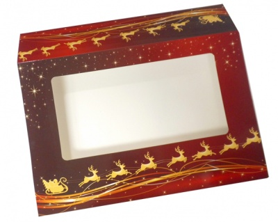 Sleeve with Window - 20x15x5cm (pk 10 Small) - REINDEER