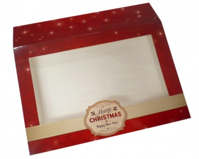 Sleeve with Window - 20x15x5cm (pk 10 Small) - MERRY CHRISTMAS