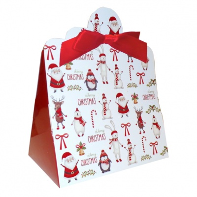 Triangle Gift Boxes with Mini Bows - LARGE CHRISTMAS CHARACTER/RED BOWS (pk10)