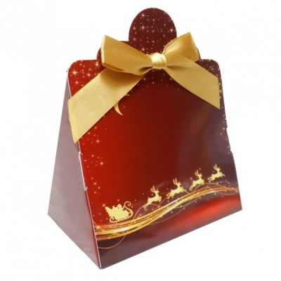 Triangle Gift Box with Mini Bows - SMALL REINDEER/GOLD BOWS (PK10)