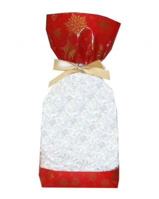 CANDY BAGS (pk 10) with Block Bottom and Twist Ties - SNOWFLAKES (large)