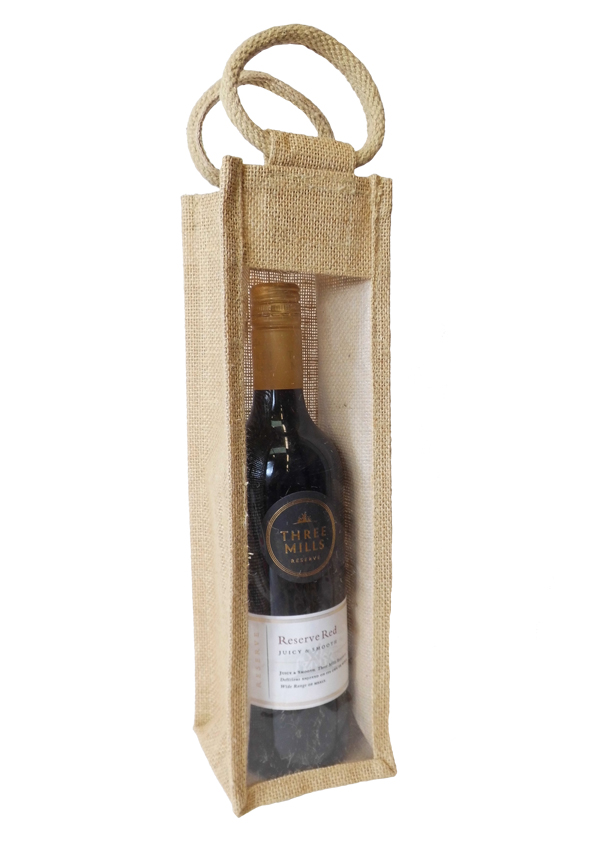 SINGLE WINE BOTTLE JUTE BAG with Window and Cotton Corded Handles - NATURAL