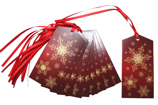 Pack 10 Gift Tags with Ribbon Ties - RED/GOLD SNOWFLAKES