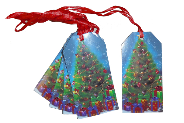 Pack 10 Gift Tags with Ribbon Ties - CHRISTMAS TREE