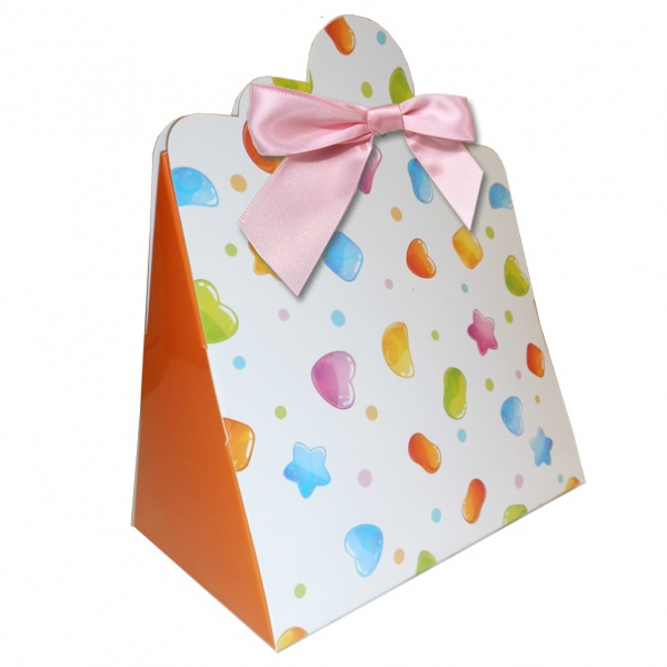 Triangle Gift Boxes with Mini Bows - LARGE CANDY/PINK BOWS (pk10)