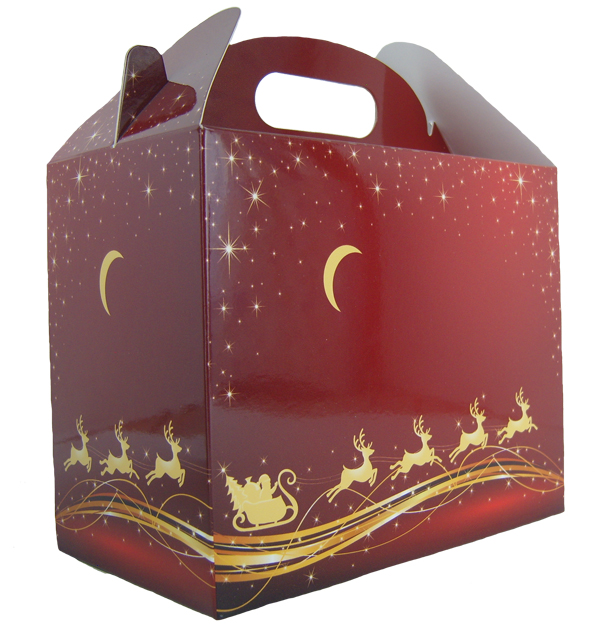 Pack of 10 GABLE BOXES 17x10x14cm - REINDEER