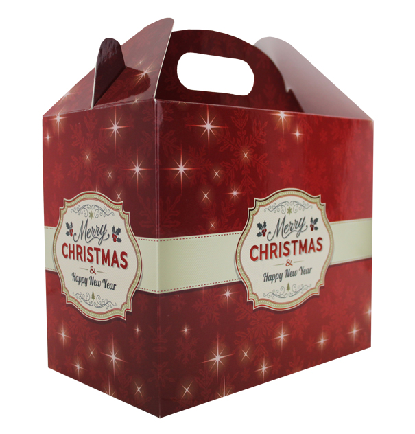 Pack of 10 GABLE BOXES 17x10x14cm - MERRY CHRISTMAS