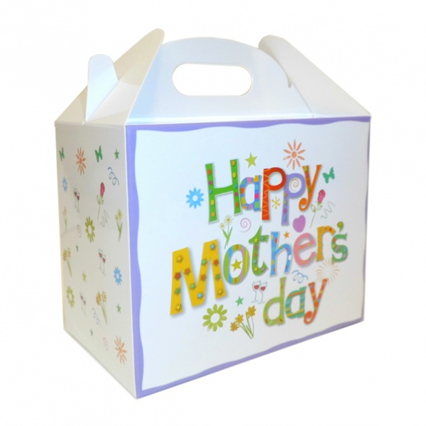 Pack of 10 GABLE BOXES 17x10x14cm - MOTHER'S DAY WHITE