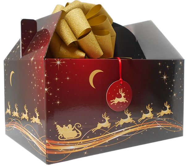 10 x Giant Gable Box GIFT KIT - (35x24x18cm) RED/GOLD REINDEER