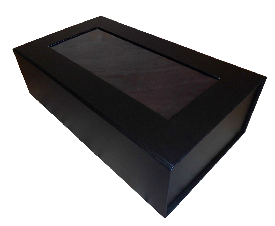 10 x Printed MAGNETIC BOX  - (2 bottle) WINDOW/BLACK (non returnable slight seconds)