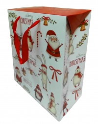 FLAT TOP GIFT BAG (single) - large CHRISTMAS CHARACTERS