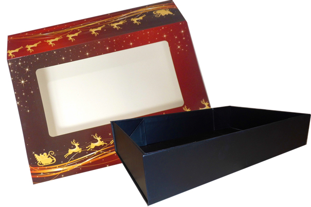 10 x Easy Fold Trays with Sleeves - (30x20x6cm) MEDIUM BLACK TRAYS/REINDEER SLEEVES