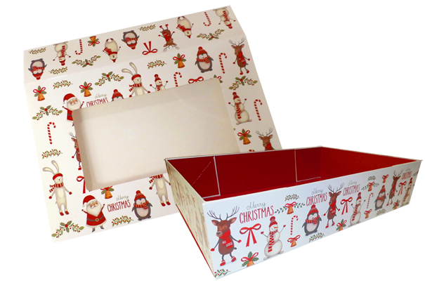 10 x Easy Fold Trays with Sleeves - (20x15x5cm) SMALL CHRISTMAS CHARACTER TRAYS/CHRISTMAS CHARACTER SLEEVES