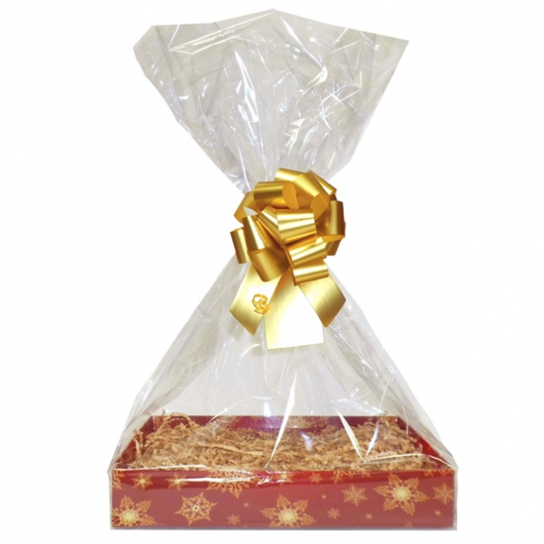 BULK Gift Basket Kit - (Small) SNOWFLAKES EASY FOLD TRAY / GOLD ACCESSORIES x10
