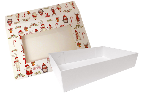 10 x Easy Fold Trays with Sleeves - (30x20x6cm) Medium WHITE TRAYS/CHRISTMAS CHARACTER SLEEVES