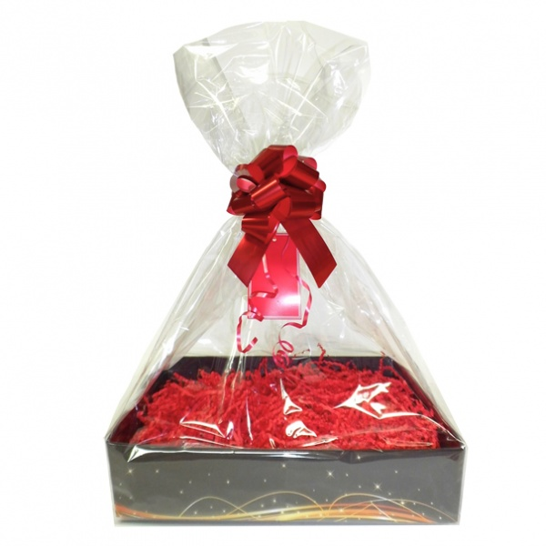 Complete Gift Basket Kit - (Large) BLACK SWIRL EASY FOLD TRAY / RED ACCESSORIES