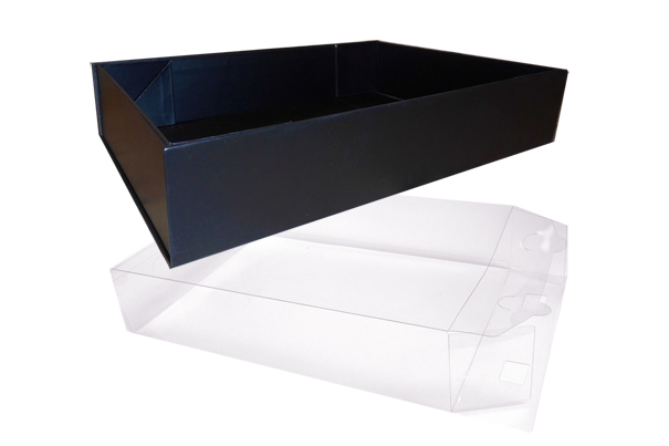 10 x Easy Fold Trays with Acetate Boxes - (30x20x6cm) MEDIUM BLACK TRAYS/CLEAR ACETATE BOXES