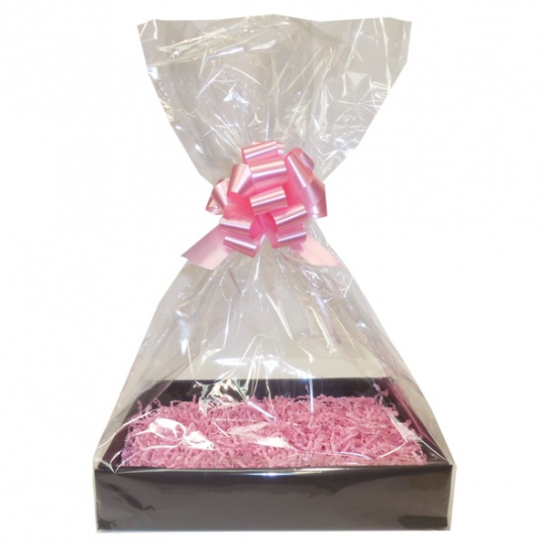 Complete Gift Basket Kit - (Medium) BLACK EASY FOLD TRAY / PINK ACCESSORIES