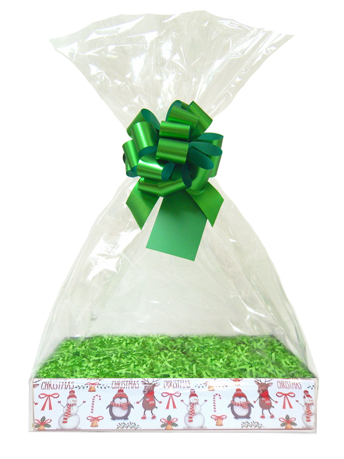 BULK Gift Basket Kit - (Large) CHRISTMAS CHARACTERS EASY FOLD TRAY / GREEN ACCESSORIES x10