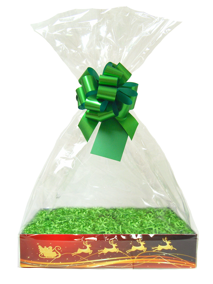 BULK Gift Basket Kit - (Large) REINDEER EASY FOLD TRAYS / GREEN ACCESSORIES x10