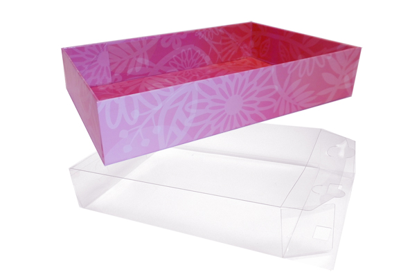 10 x Easy Fold Trays with Acetate Boxes - (35x24x8cm) LARGE PINK FLOWERS TRAYS/CLEAR ACETATE BOXES