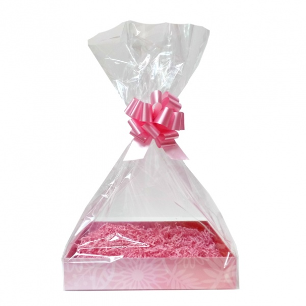 Complete Gift Basket Kit - (Small) PINK FLOWERS EASY FOLD TRAY/PINK ACCESSORIES