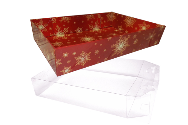 10 x Easy Fold Trays with Acetate Boxes - (35x24x8cm) LARGE SNOWFLAKES TRAYS/CLEAR ACETATE BOXES