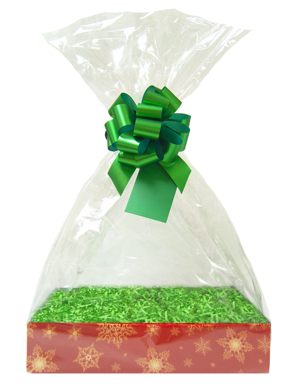 BULK Gift Basket Kit - (Small) SNOWFLAKES EASY FOLD TRAY / GREEN ACCESSORIES x10