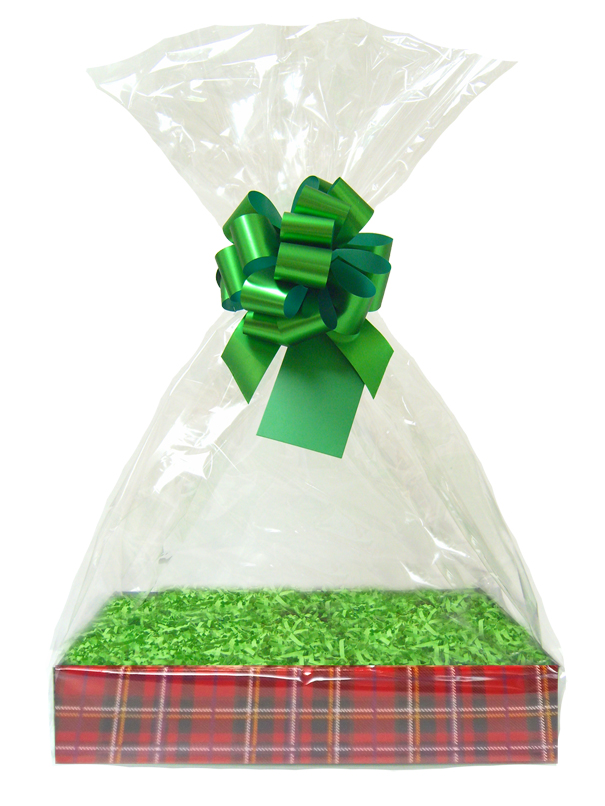 BULK Gift Basket Kit - (Large) TARTAN EASY FOLD TRAY / GREEN ACCESSORIES x10
