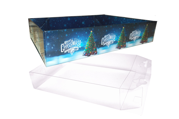 10 x Easy Fold Trays with Acetate Boxes - (30x20x6cm) MEDIUM CHRISTMAS TREE TRAYS/CLEAR ACETATE BOXES