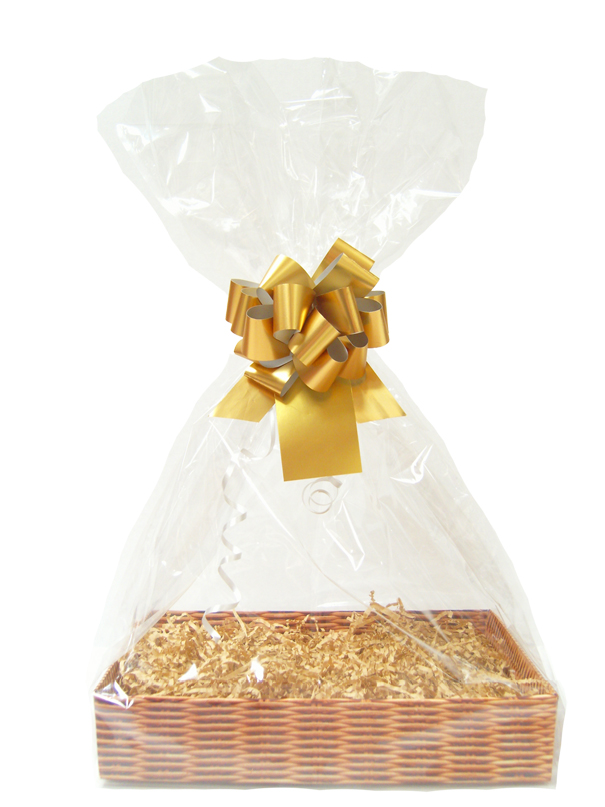 BULK Gift Basket Kit - (Large) WICKER EASY FOLD TRAY / GOLD ACCESSORIES x10