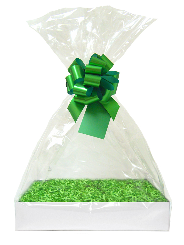 Complete Gift Basket Kit - (Medium) WHITE EASY FOLD TRAY / GREEN ACCESSORIES