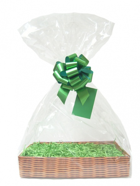 Complete Gift Basket Kit - (Large) WICKER EASY FOLD TRAY / GREEN ACCESSORIES