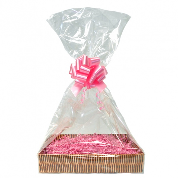 Complete Gift Basket Kit - (Medium) WICKER EASY FOLD TRAY / PINK ACCESSORIES