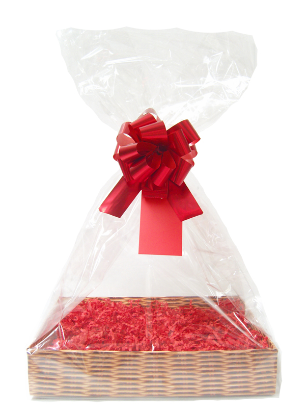 Complete Gift Basket Kit - (Large) WICKER EASY FOLD TRAY / RED ACCESSORIES