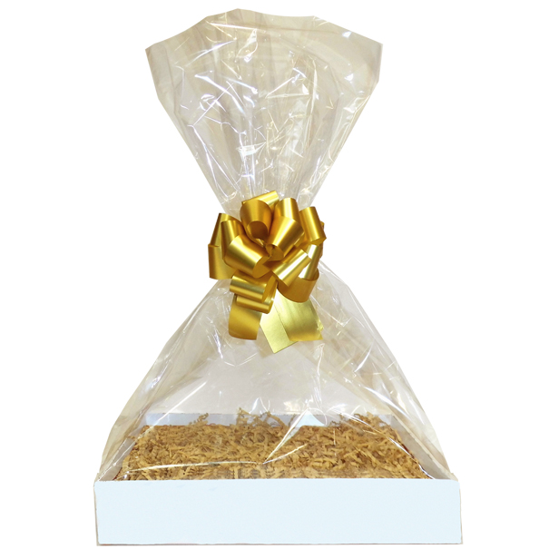 Complete Gift Basket Kit - (Large) WHITE EASY FOLD TRAY / GOLD ACCESSORIES