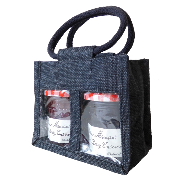 2 JAR JUTE BAG with Window, Partition and Cotton Corded Handles -17x10x14cm high - BLACK
