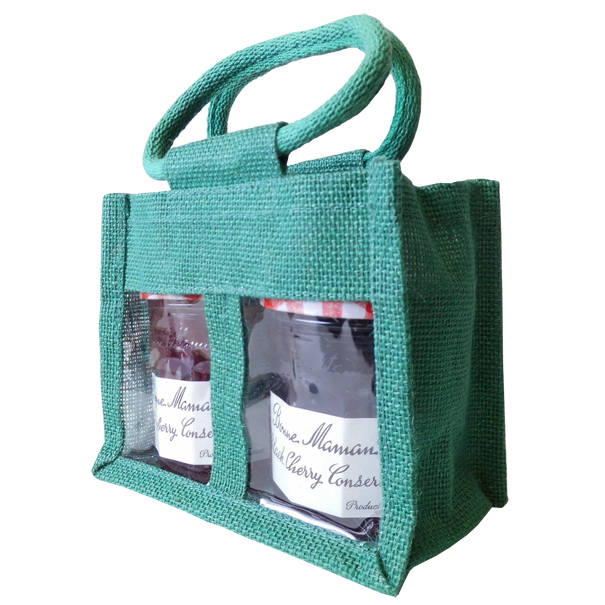 2 JAR JUTE BAG with Window, Partition and Cotton Corded Handles -17x10x14cm high - DARK GREEN
