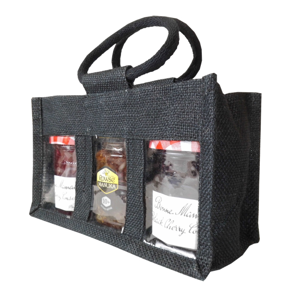 3 JAR JUTE BAG with Window, Partition and Cotton Corded Handles - 24x10x14cm high - BLACK