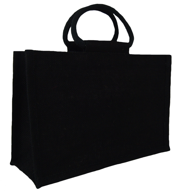 MEDIUM Open Jute Bag with Cotton Corded Handles - 30x12x20cm high - BLACK