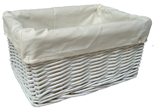 WHITE Wicker Storage Basket with CREAM Lining - 29x18x14cm (Slight Seconds - non returnable)