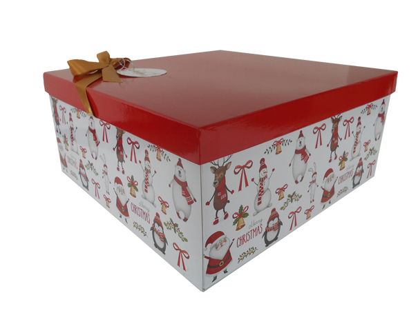Gift Box With Lid Bow And Tissue Large Christmas Characters