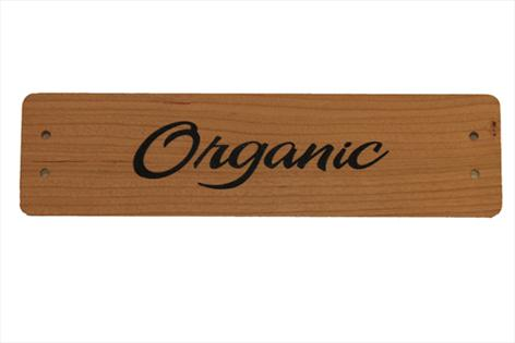 Small Cherry Wood Point of Sale Sign 250mm x 65mm - ORGANIC
