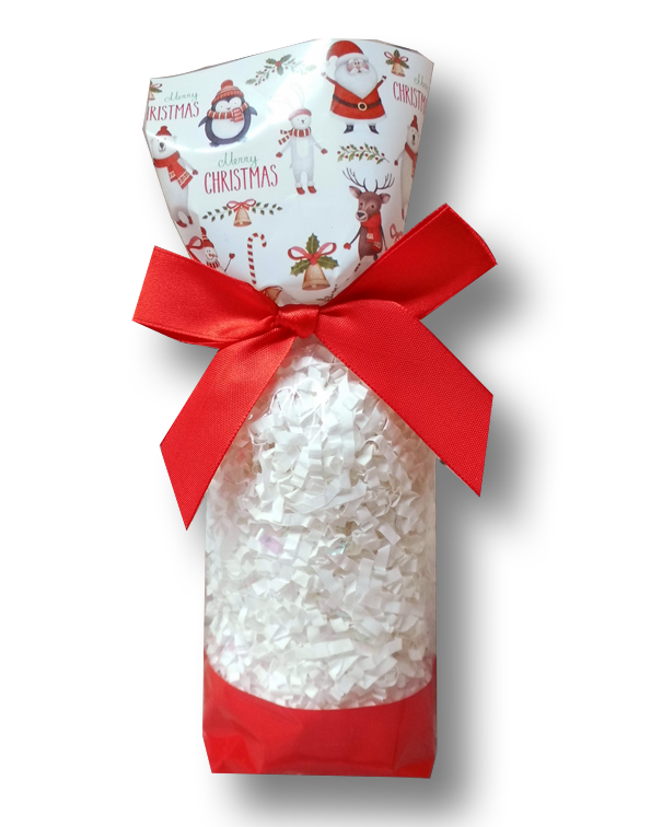 CANDY BAGS (pk 10) with Block Bottom and Twist Ties - CHRISTMAS CHARACTERS (small)