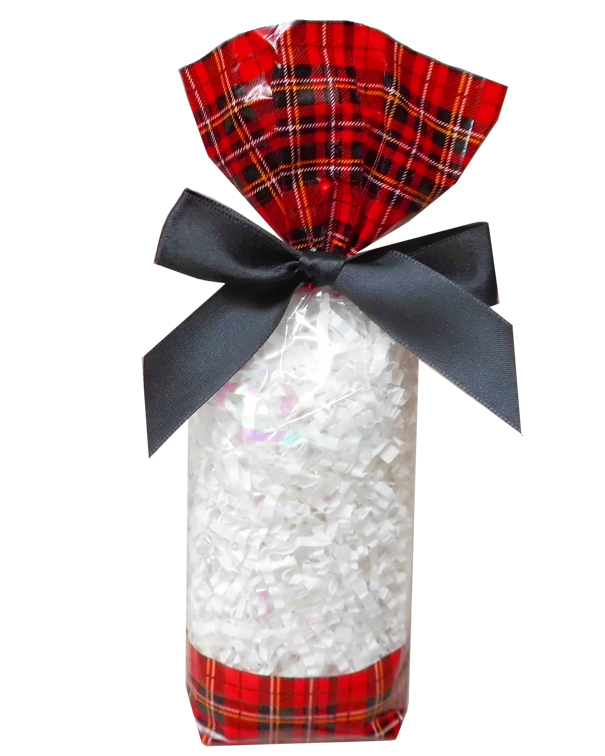 CANDY BAGS (pk 10) with Block Bottom and Twist Ties - TARTAN (small)